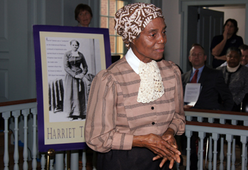 Dolores Blakey portrays Harriet Tubman during festivities on Friday, March 1, 2013.